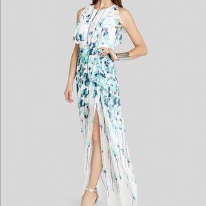 60% OFF BCBG: White Georgette Gown w/ Blue Floral
